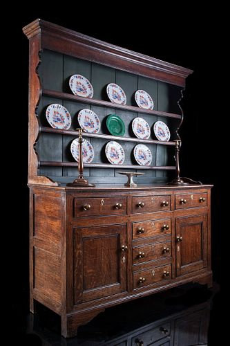 Early-19th Century Welsh Oak Dresser And Rack