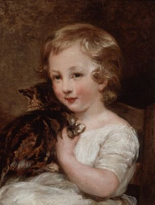 Early-19th Century Portrait Of A Child With A Cat