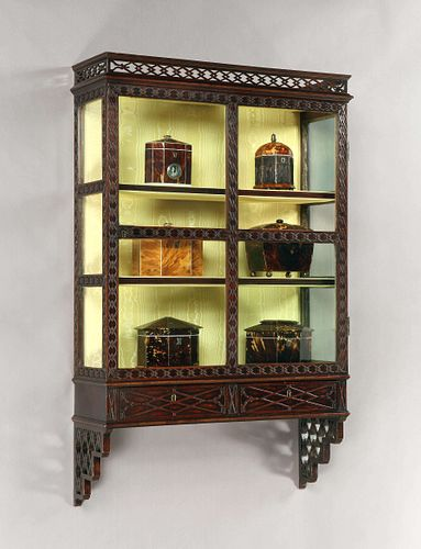 A Rare Mid 18th Century Chinese Chippendale Mahogany Wall Cabinet