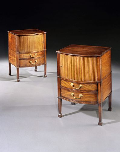 A Pair Of George III Period Mahogany Bedside Cupboards