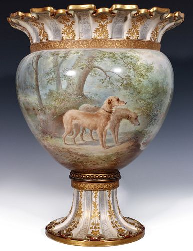 IMPORTANT DOULTON JARDINIERE FOR TIFFANY BY HY MITCHELL