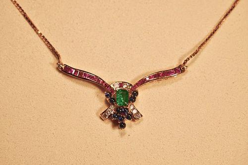 22K Emerald, Diamond, Ruby & Sapphire Necklace, Courtesy of J Austin Jeweler