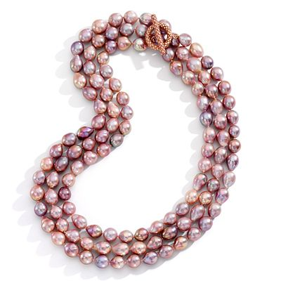 Mish Fire Leaf Necklace, 18k Rose Gold and Pink Freshwater Pearl