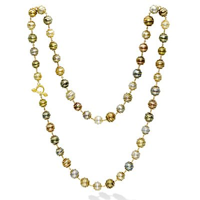Mish Orbiting Pearl Necklace,18k Gold with Tahitian & South Sea Cultured Pearls
