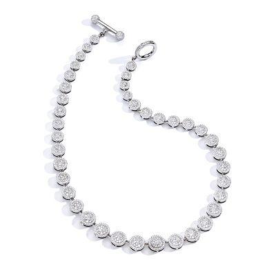Mish Raceway Choker Necklace, 18k White Gold & Diamond Pavé