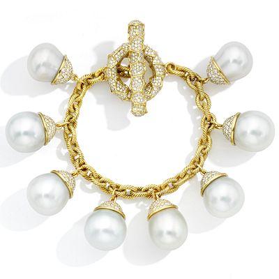 Mish Honeywood Charm Bracelet, 18k Gold, Diamond Pavé and South Sea Cultured Pearls