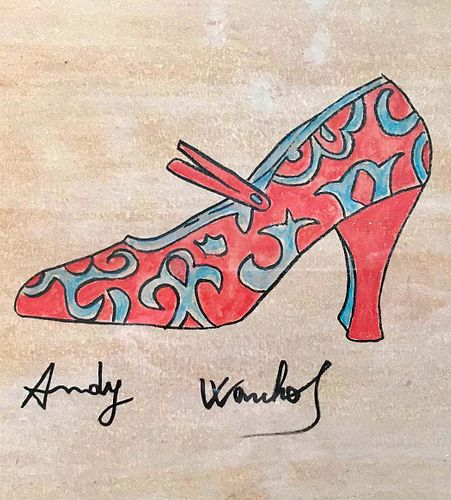 Andy Warhol  Shoe  Watercolor signed
