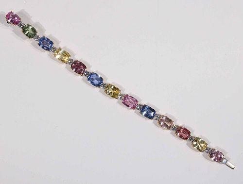 Bayco Multi-Colored Sapphire & Diamond Bracelet