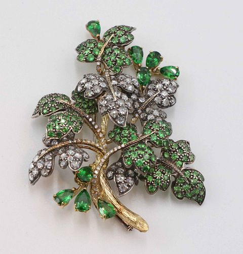 Grape Leaf Brooch of Rose Cut Diamonds