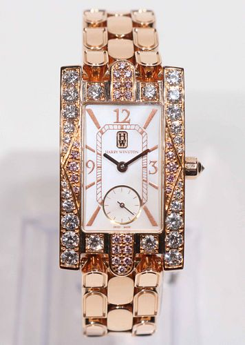 "Harry Winston Diamond & Rose Gold ""Avenue"" Watch"