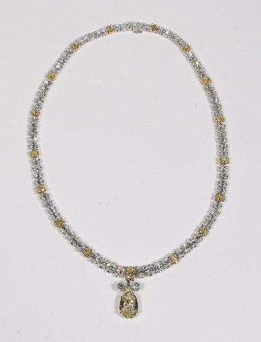 Oscar Heyman Yellow & White Diamond Necklace