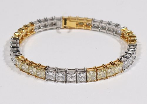 Yellow & White Diamond Line Bracelet