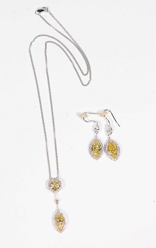 Yellow Diamond & Diamond Earring and Pendant Set