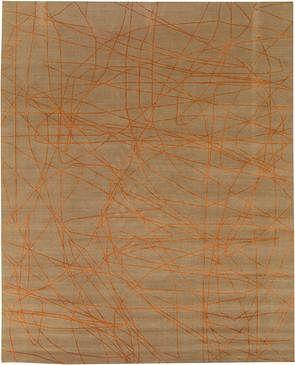 Wire Beige and Orange Wool Rug