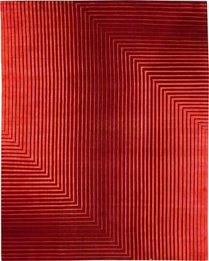 Detour Red 8'X10' Silk & Wool Rug