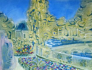 """Alan Halliday: """"The Indre from Chateau d'Ussé"""", framed watercolour."""