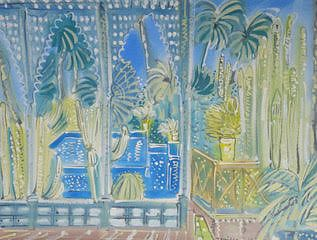 "Alan Halliday: ""Jardin Majorelle"", framed watercolour."
