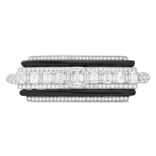 Diamond, Onyx and Platinum Brooch