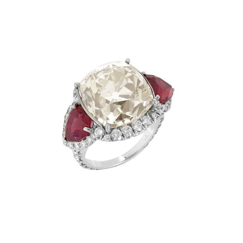 Diamond, Ruby and Platinum Ring