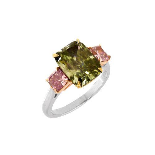 Natural Green Diamond and 18K Ring