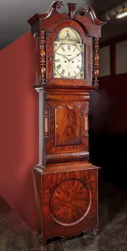 AN EARLY 19TH C. GEORGIAN MAHOGANY YORKSHIRE TALL CLOCK