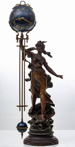 A CIRCA 1900 FRENCH FIGURAL MYSTERY CLOCK AFTER MOREAU