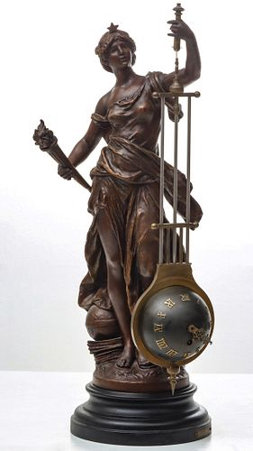 A HIGH QUALITY ANTIQUE FRENCH FIGURAL MYSTERY CLOCK