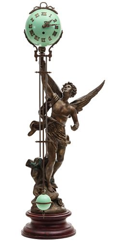 A DRAMATIC ANTIQUE MYSTERY CLOCK WITH WINGED FIGURE