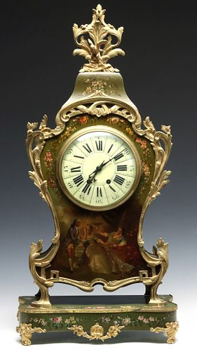 A VERNIS MARTIN STYLE CLOCK WITH VINCENTI MOVEMENT