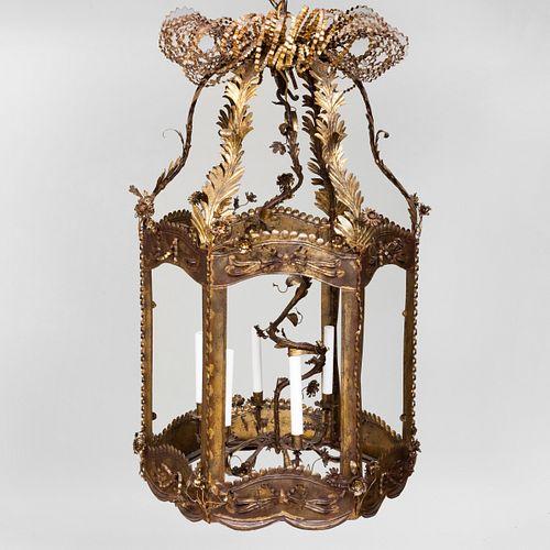 Large French Baroque Style Gilt Tôle Six-Light Hall Lantern