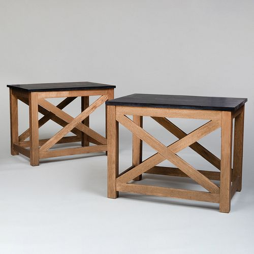 Pair of Modern Gilt Limed Oak Tables with Slate Tops, Designed by Stephen Sills
