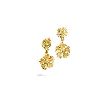 Mish Strawberry Flower Stud Drop Earrings,18k Gold & Diamond
