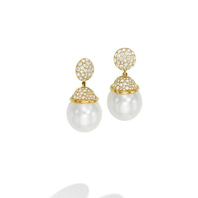 Mish Hanalei Stud Drop Earrings, 18k Gold, South Sea Cultured Pearl & Diamond Pavé