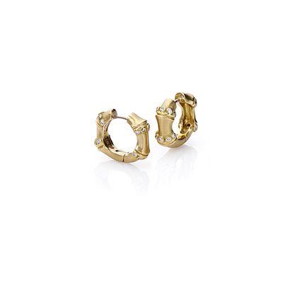 Mish Bamboo Hoop Earrings, 18k Gold & Diamond.