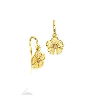 Mish Strawberry Flower French Hook Earrings, 18k Gold & Brown Diamond