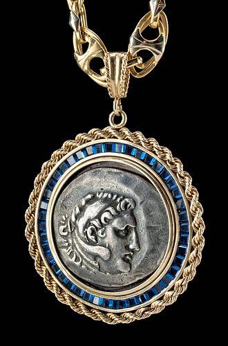 Greek Silver Alexander Tetradrachm 18K Gold Necklace