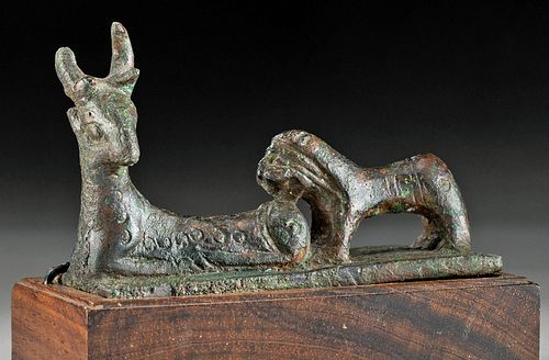Published Exhibited Anatolian Leaded Bronze Lion & Stag