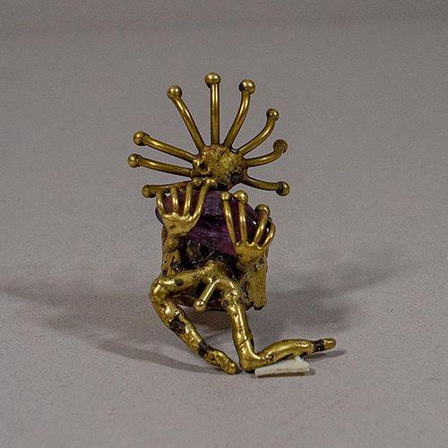 Pal Kepenyes. Anillo estilo Brutalista de bronce fundido con amatista / Man shaped bronze ring
