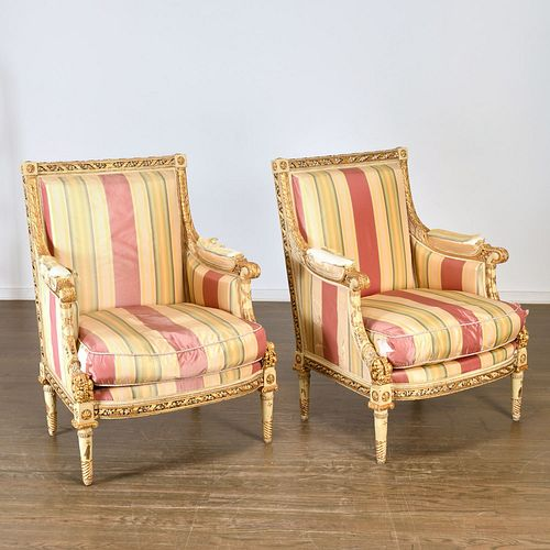 Superb pair Empire painted and gilt bergeres