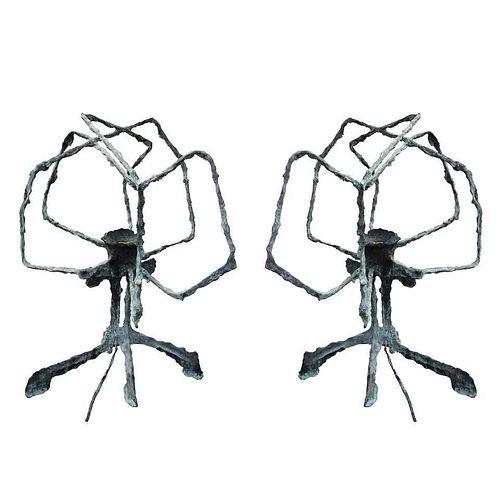 Pair of Brutalist Table Lamps by Charles Hollis Jones