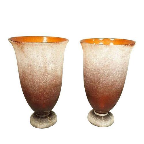 2 Karl Springer/Seguso Murano Scavo Glass Lamps ,signed