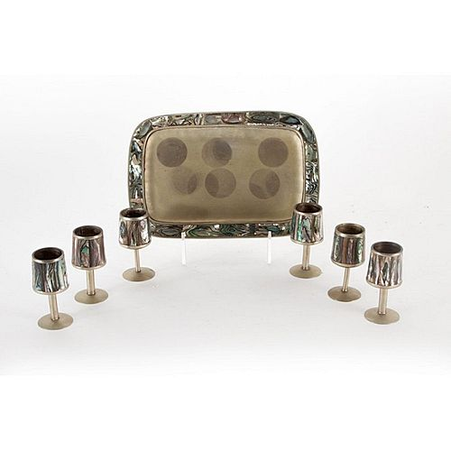 Avalone & Silver Tone Cordial Set, Tray & 6 cups