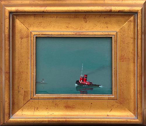 """Robert Stark Jr. Oil on Canvas """"Tugboat Rounding Brant Point, Nantucket"""""""