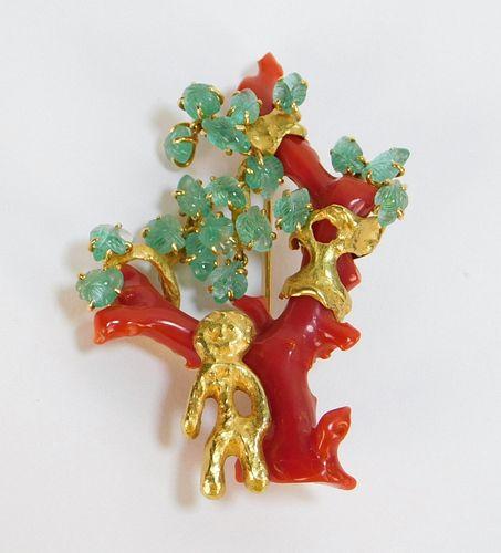 Franco Cannilla Masenza Roma 18K Gold Coral Brooch