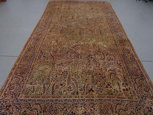 Fine Antique Kerman Pictorial Floral Carpet