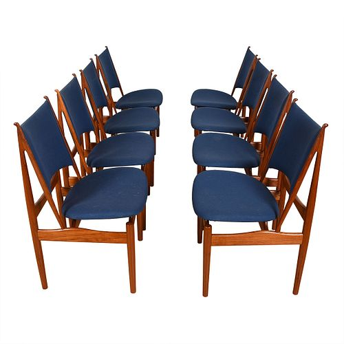 Iconic Set of 8 Danish Teak Finn Juhl Egyptian Dining Chairs
