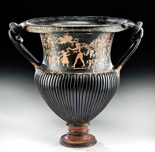 Huge Greek Gnathian Pottery Amphora Nike, Maenad
