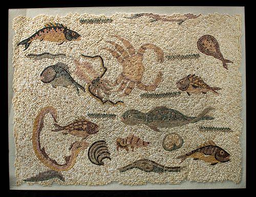 Fine Roman Stone Mosaic w/ Sea Creatures