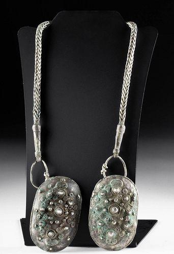Fine Viking Silver Brooches & Braided Chain, 402.4 g