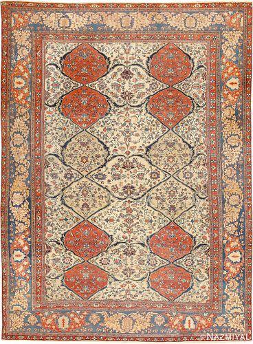 ANTIQUE PERSIAN IVORY SAROUK FARAHAN CARPET ,10 ft x 13 ft